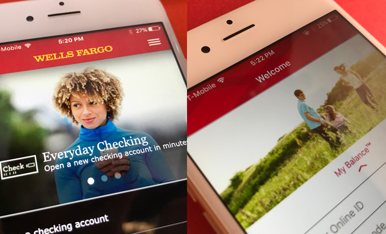 Wells Fargo and Bank of America apps