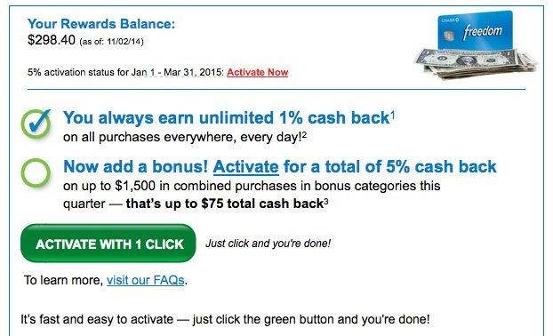 Chase Freedom<sup>®</sup> one-click activation email