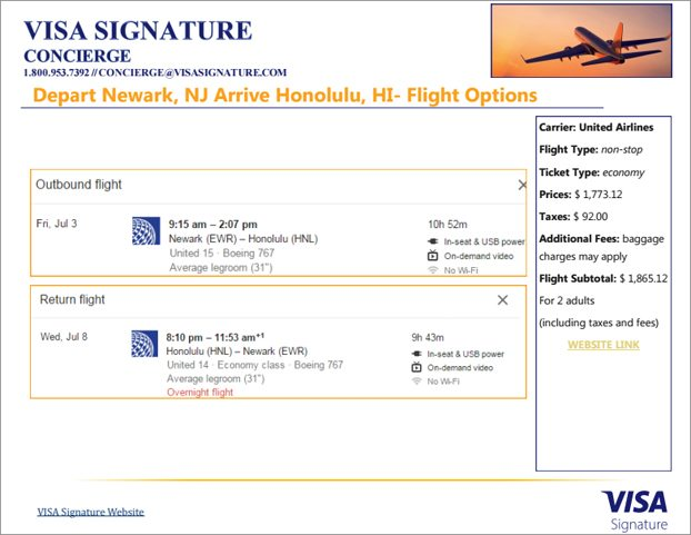 Visa Concierge listed out flight option in a slide-format.