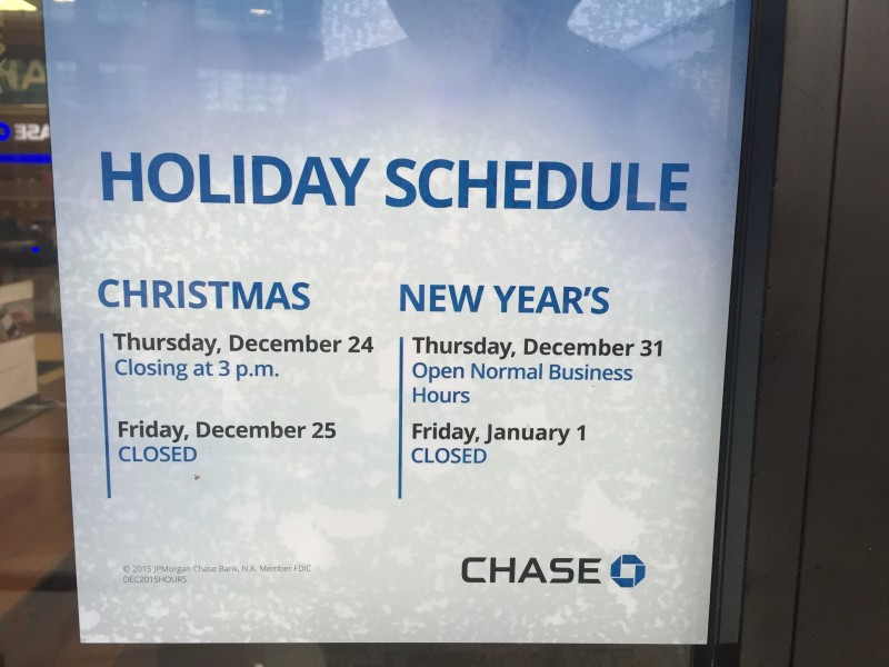 chase bank christmas schedule - Bbt Christmas Eve Hours