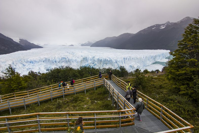 Huge wall of Perito Moreno glacier in Argentina Patagonia