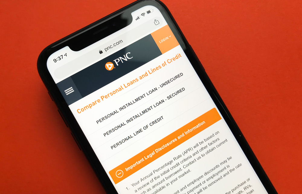PNC Bank Personal Loans Website